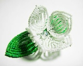 White Pearl Flower Floral Green Leaf Bloom French Beaded Fascinator - Pearl Collection