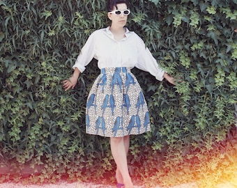 AMY / LOLA - handmade gathered / pleated skirt African Wax Ethno Chic