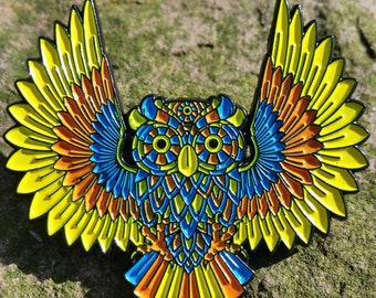 Wise Owl spirit animal pin - jambands music festivals grateful dead phish disco biscuits lotus Bassnectar lsd dmt electric forest