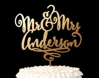 Gold Mr Mrs Cake Topper - Custom Cake Topper for Wedding Cake - Last Name - Daydream Collection