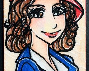 Original ACEO 2.5 in x 3.5 in - Anime Manga Style Marvel Comics Avengers Agent Peggy Carter  - OOAK ATC Art Artwork Illustration Sketch Card