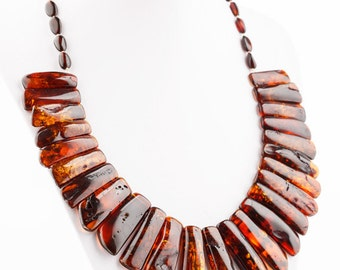 Baltic Amber Necklace Natural Color and Classic Beads Shape