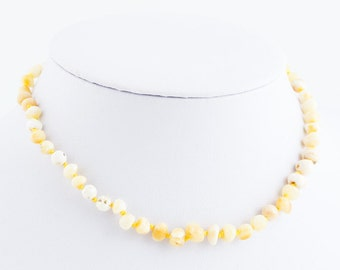 White Baltic Amber Baby Teething Necklace