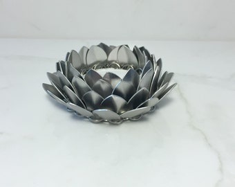 Lotus Flower Candle Holder, Silver Candle Holder, Tea Light Holder, LED Candle Holder, Tea Light Skirt, Asian Decor, Chainmaille Decor