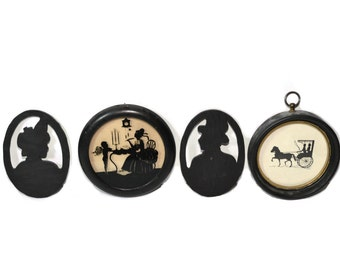 Vintage Silhouette Picture Framed Silhouette Wall Decor Silhouette Wall Art Silhouette Portraits - Set of 4