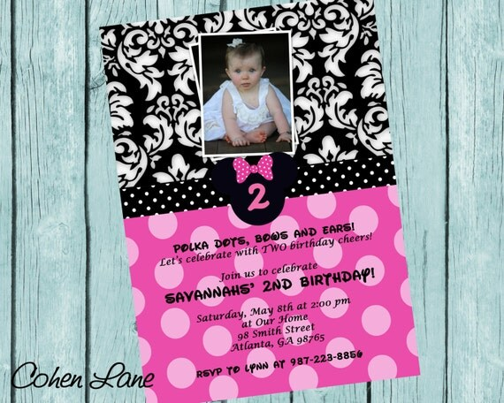 Sweet Printable Minnie Mouse Birthday Invitation. Disney Party Invitations.  Minnie Mouse Birthday Party Invite.  Polka dots and Damask.