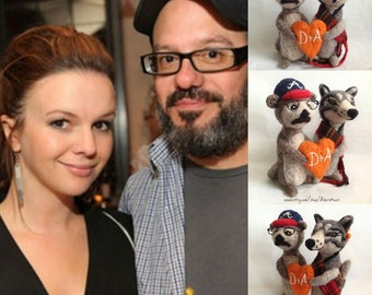 David Cross and Amber Tamblyn's Cake Topper - Wolf and Otter