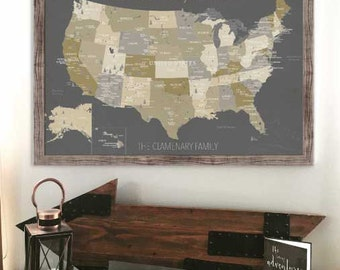 National Parks Map, Push Pin, 24X36 Inches, USA Parks, Hiking Map, Park Ranger, Camping gift, Gift for grads, Adventure travel