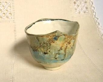 Stoneware Tea Bowl, Delicate, Handbuilt, Lace Textured Cup, 6 oz, Blue, Green, Cream