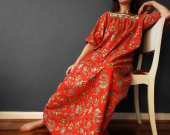 Vintage 60s 70s Poly Cotton Orange Muumuu Dress Batik Print Large