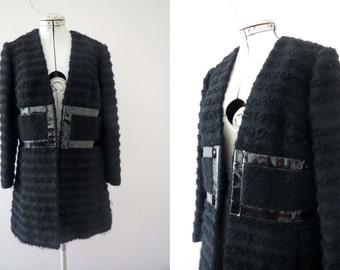60s Black Wool Mod Coat Patent Leather Trim Rome Via Veneto Small