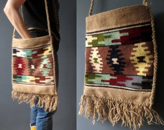 Vintage Southwestern Kilim Shoulder Bag Boho Ethnic Tribal Textile Fabric Bag