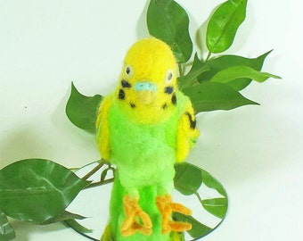 Needle Felted Green and Yellow Parakeet Soft Sculpture