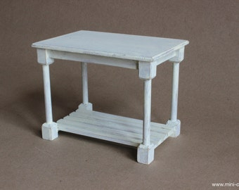 1/6 scale Table Kitchen Serving Baking Wood Shabby White miniature furniture for  Fashion dolls (Blythe, Barbie, Pullip, Obitsu, Momoko).
