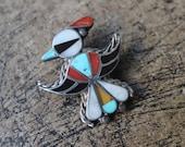 Thunderbirs Brooch / Inlay Southwest Jewelry / Vintage Multi Stone Pin