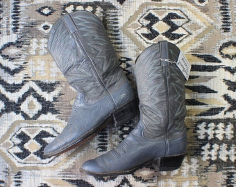 10 D Men's Cowboy Boots / Grey Leather Western Boots / Men's Vintage Shoes