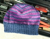 Womens Beanie Blue Purple Pink Berries Striped Alpaca Wool Mix Light Thin Hand Knit Winter Hiking Jogging Skully (One Size - Ready to Ship)