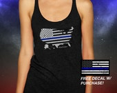 United we stand, Support Tank Top, Tri Blend Racerback Tank, women's fitness Tank Top, Thin Blue Line
