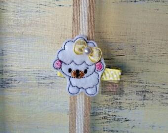 Felt Sheep on Alligator Clip - Farm Animal Clip - Embroidered Felt - Lamb Hair Clip