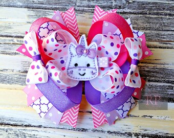 OTT (Over the Top) Unicorn Hairbow with Felt Clip Center - Magical Horse Hair Clip -  Bow