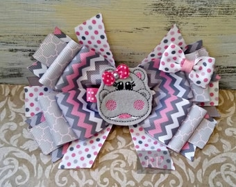 Stacked Boutique Hairbow with Hippo Felt Clip Center - Hippopotamus Hair Clip - Hand Sewn Bow