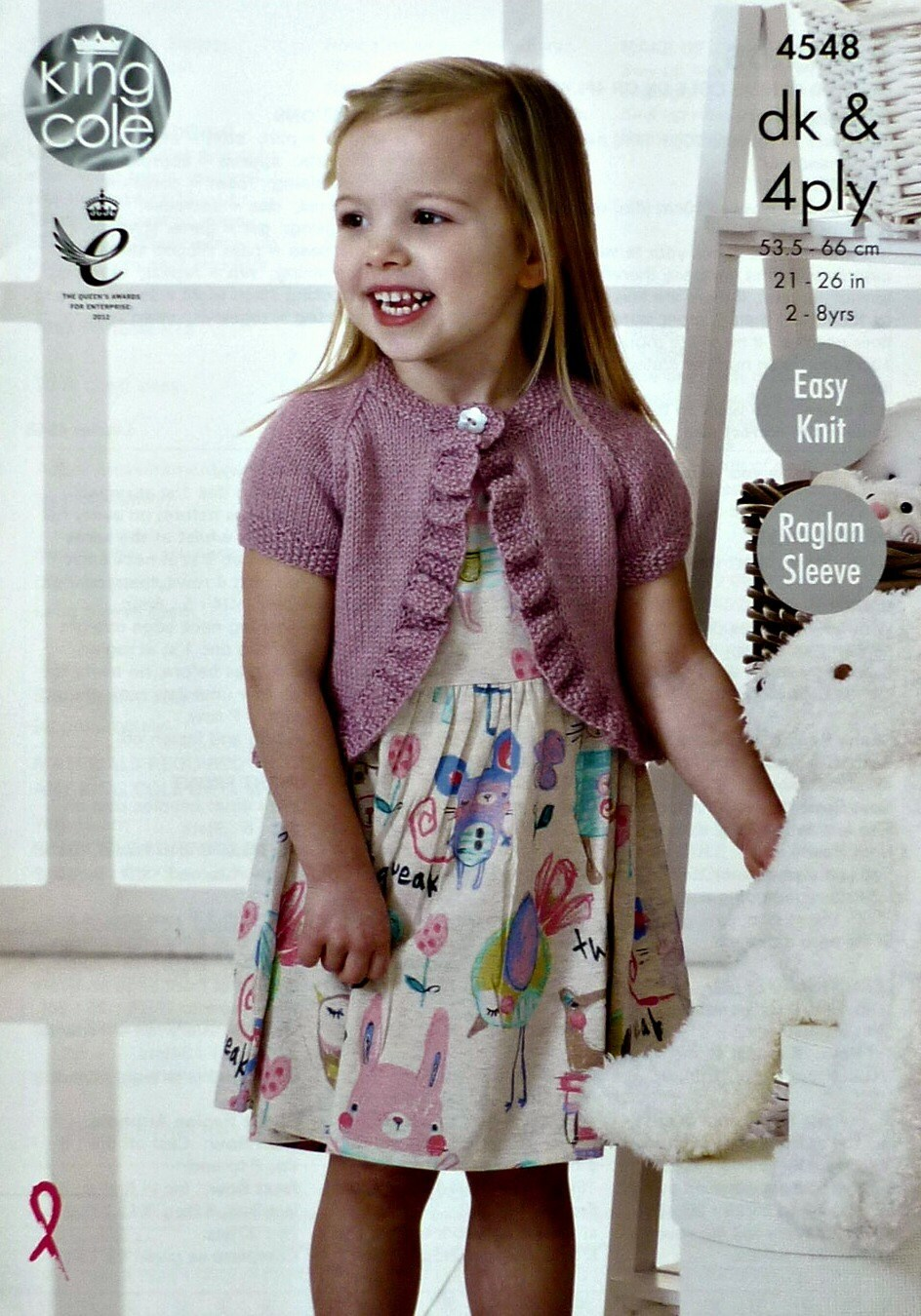 Knitting Pattern Cardigan Girl : Girls Knitting Pattern K4548 Girls Easy Knit Short Sleeve Round Neck Bolero C...