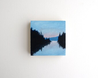 Adirondack Lake Painting - 3 x 3