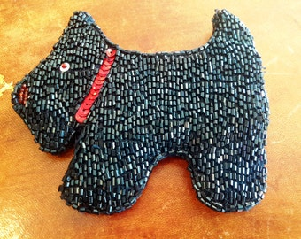 Beaded Scottie Dog Coin Purse Dog Lover Womens Accessory