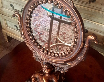 Art Nouveau Mirror Vanity Cast Metal Copper Bronze Tone Dragon Head On The Prow Nude Figural Woman Iron Art