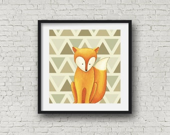woodland nursery wall art,woodland animal wall print, set of 3 prints, fox,bear and hedgehog,kids and baby room art print