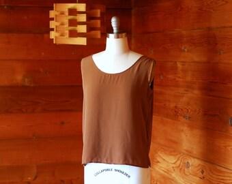 vintage brown silk top / size medium