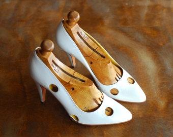 vintage Calvin Klein white leather polka dot high heels / italian leather shoes / size 7