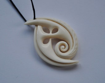 Koru with Southern Cross constellation design~ Hand carved bone