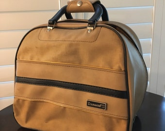 Tan canvas and vinyl Bowling Ball Bag brunswick dark brown trim