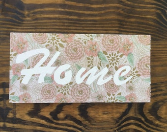 "Hand painted ""Home"" Wooden Sign"