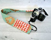 Padded Camera Strap Cover. Photographer Gift. Mint Coral DSLR Camera Strap Cover with Lens Pockets. Fits Canon & Nikon Camera Strap Cover.