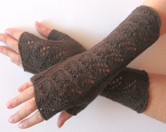 "Long Fingerless Gloves Brown 10"" Arm Warmers Mittens Soft Wool Acrylic"