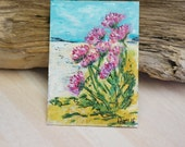 ACEO Thrift at the Beach Scottish West Coast Acrylic Painting