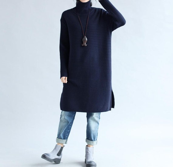 Women loose fitting long High collar sweater dress loose Winter Bottoming sweater skirt