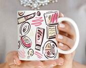 Makeup Mug, Makeup Beauty Mug, Trendy Mug, Mugs for Her, Fashion Mug, Gift for Her, Makeup Artist Gift Mug, Makeup Art Coffee Mug Q0014