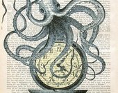 END OF TIME octopus nautical art maritim sea life wall decor illustration time watch dictionary art victorian