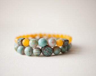 Blue Agate Bracelets, Blue Bohemian Bracelets, Blue Stone Bracelets, Boho Jewelry, Yellow Bracelets, Bohemian Jewelry, Trending