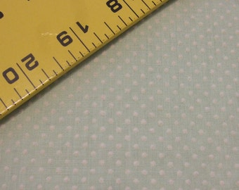 Vintage DOTTED SWISS Mint Green with White Dots Flocked - yardage available