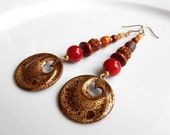 Leopardskin Patina Brass,Czech Glass, Glass Pearls,Dangle Earrings,Gift For Her