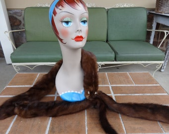 vintage genuine mink fur pelts wrap scarf 1920's flapper boa art deco winter accessories