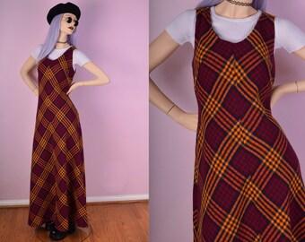 70s Plaid Maxi Dress/ US 10/ 1970s/ Vintage