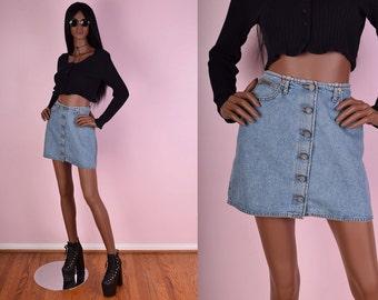 90s Calvin Klein Button Down Denim Skirt/ US 8/ 1990s
