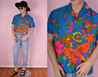 60s Psychedelic Fluorescent Butterfly Floral Print Button Down Shirt/ Large/ 1960s/ Vintage/ Hawaiian