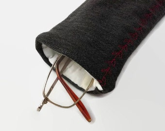 Black Denim Upcycled Eyeglass, Sunglass Case with Red Stitching
