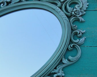 Large Ornate Oval Vintage Mirror Wall Mirror Ornate Frame, Hollywood Regency Paris Apartment, French Country Muted Turquoise Modern Vintage